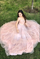 Pink A-line sweetheart tulle long prom dress pink evening dress B226
