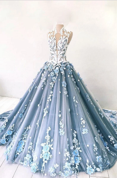 Unique high neck tulle lace long prom dress blue tulle lace evening dress B230