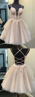 Champagne v neck tulle lace short prom dress lace homecoming dress B232