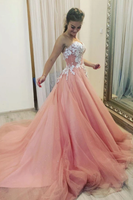 Pink sweetheart tulle lace long prom dress pink tulle lace formal dress B233