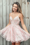 Pink sweetheart tulle lace short prom dress pink homecoming dress B234