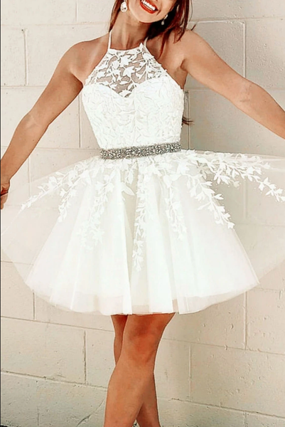 White tulle lace short prom dress white lace homecoming dress B239