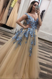 Champagne v neck tulle lace long prom dress champagne evening dress B242