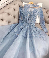 Blue tulle lace long prom gown b247