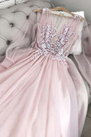 new arrival pink long sleeves tulle lace long prom gown B249