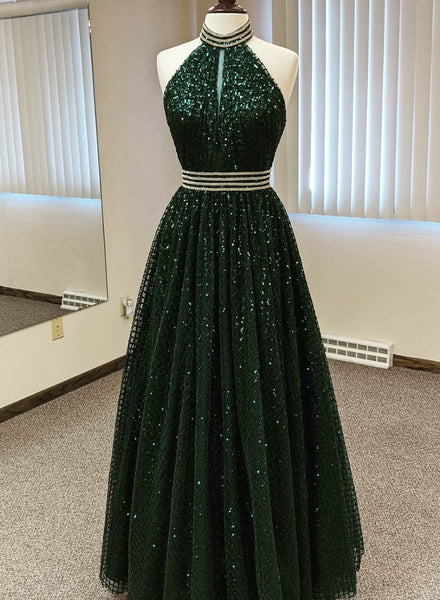 long prom dress Green sequins long prom dress evening dress B252