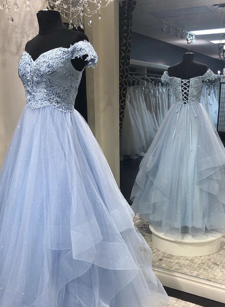 Light Blue tulle lace long prom dress evening dress  b254