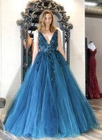 Blue v neck tulle lace long prom gown b259
