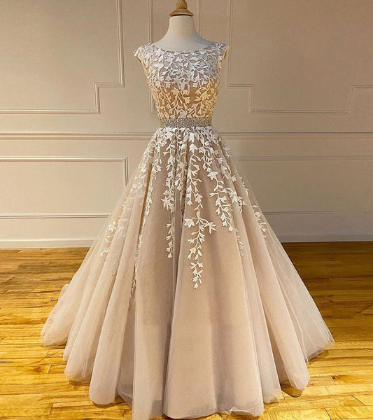 Elegant tulle lace long prom gown b267