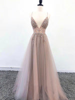 A line v neck tulle beads long prom dress b269