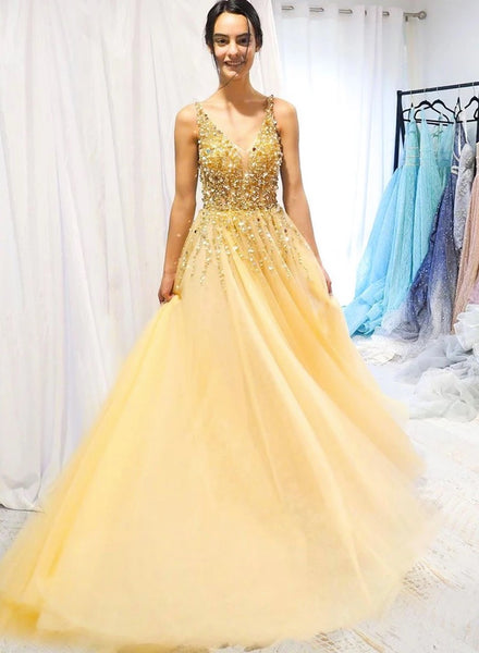 Yellow Tulle Sequins Beaded Long A Line Prom Dress, Party Dress B26