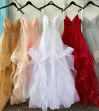 Simple v neck tulle long prom gown evening dress B271