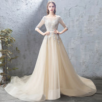 Champagne tulle lace long prom dress, evening dress B274