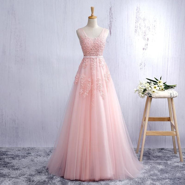 Pink v neck tulle lace long prom dress Long Prom Dresses B276