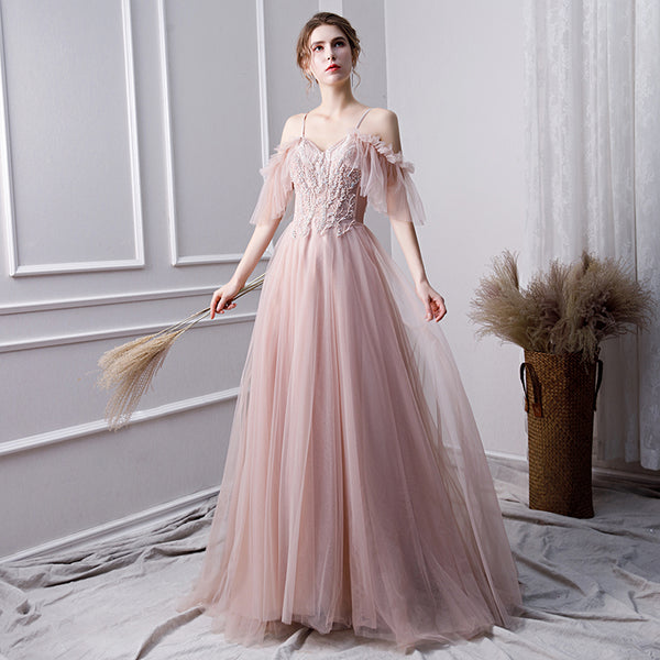 Pink tulle lace long prom dress, lace evening dress B278