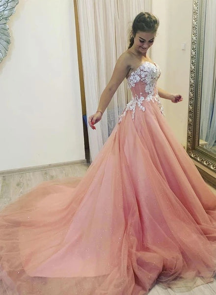 Sweetheart Neck Pink Tulle Long Strapless Prom Dress, Evening Dress With Applique B27