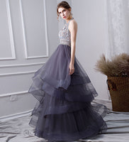 Elegant tulle beads long prom gown, evening dress B280
