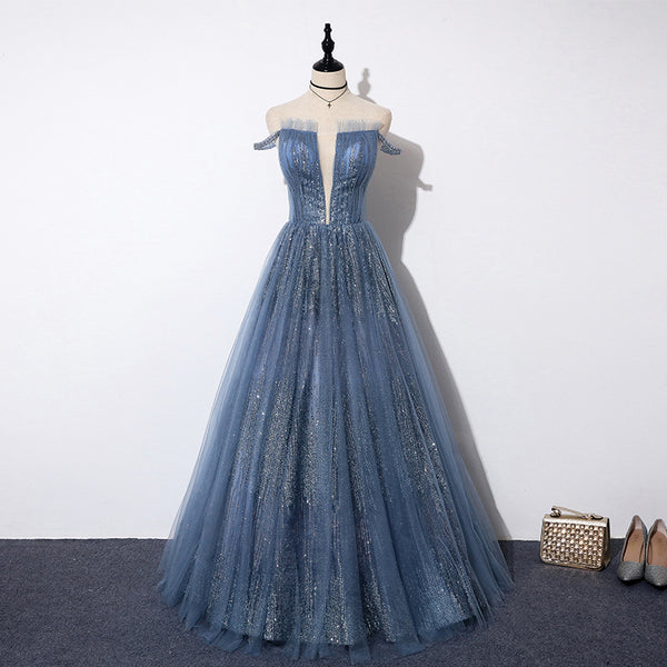 Blue tulle sequins long prom dress, evening dress B287
