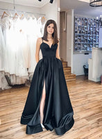 Simple Black Satin Spaghetti Straps Long Side Slit Prom Dress B28