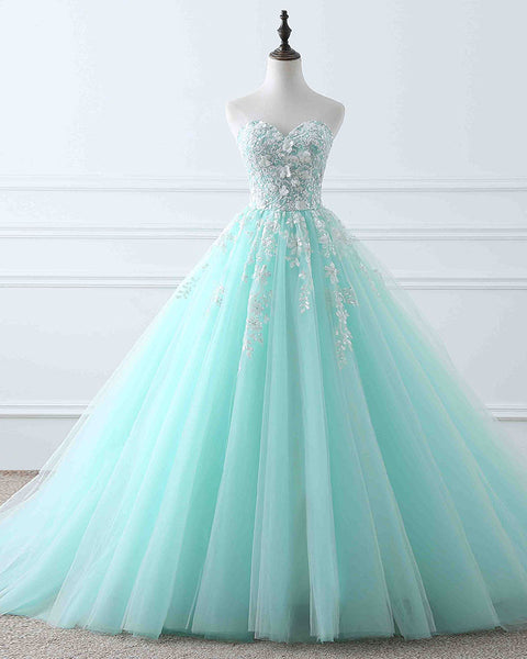 Light blue tulle lace long prom dress, evening dress B292
