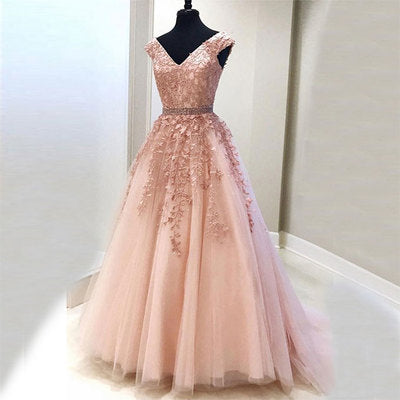 Pink v neck tulle lace long prom dress, lace evening dress B293