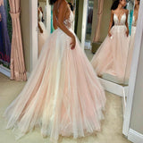 Pink v neck tulle lace long prom dress, pink formal dress B294