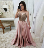 Stylish v neck lace long prom dress, evening dress B297
