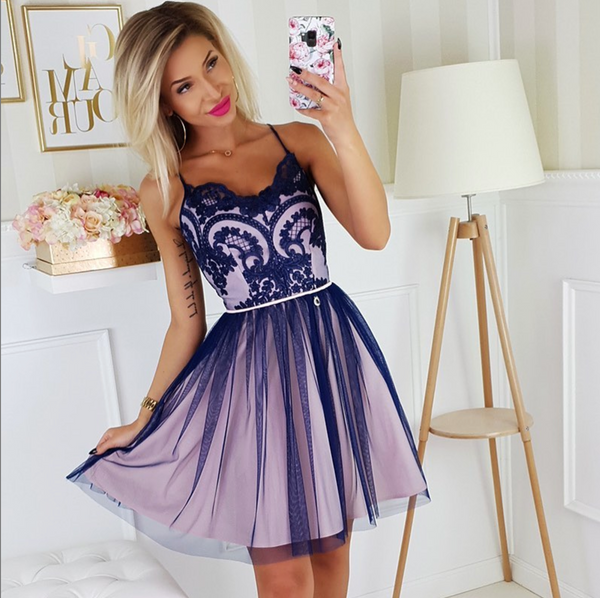 Cute v neck tulle lace short prom dress, homecoming dress B298