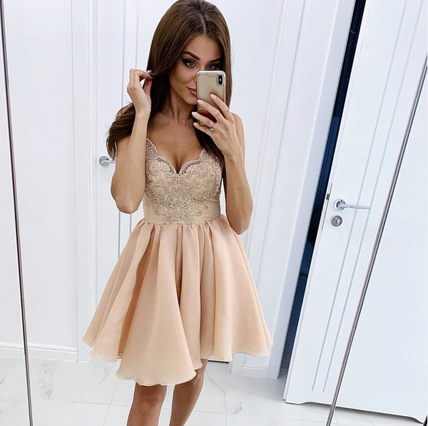 Champagne lace chiffon short prom dress, hoco dress B299