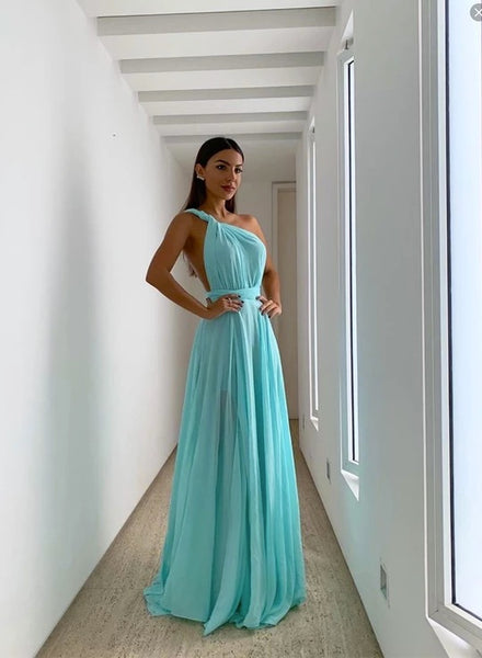 Simple Blue Chiffon One Shoulder Long Prom Dress B29