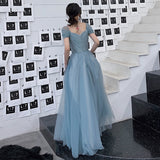 Blue tulle long prom dress, evening dress B304