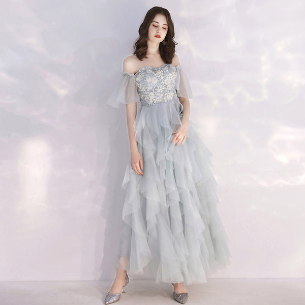 Gray tulle lace short prom dress, homecoming dress B306