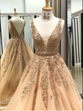 Champagne Lace Long Prom Dress, Popular Evening Dress ,Fashion Wedding Party Dress b31