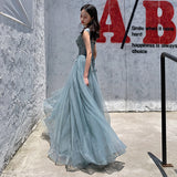 Blue tulle lace long prom dress, evening dress B311