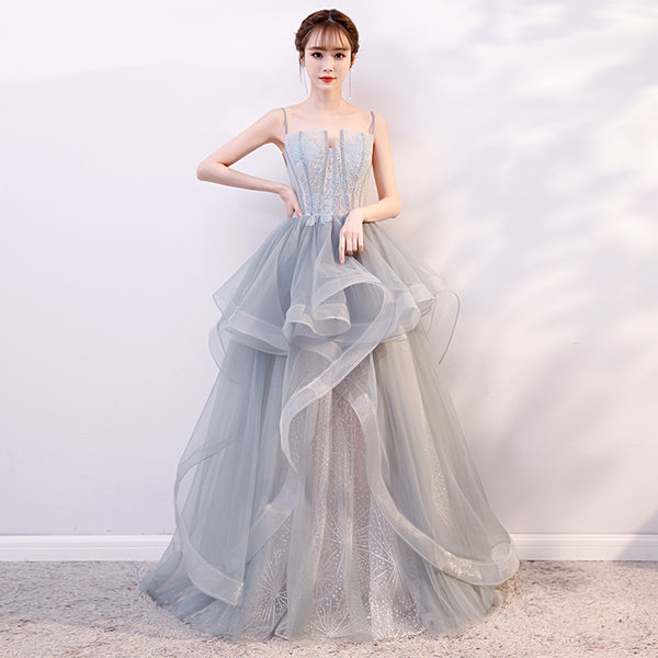 Gray tulle long prom dress, gray evening dress B312