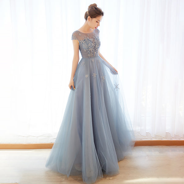 Cute round neck tulle long prom dress, evening dress B313