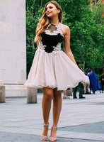 Cute tulle lace short prom dress, homecoming dress B314