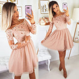 Light pink tulle lace short prom dress, homecoming dress B316