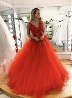 Red v neck tulle lace long prom gown, evening dress B321