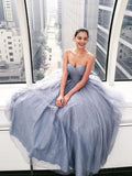 Sweetheart Grey Tulle Sparkly Long Prom Gown, Strapless Evening Dress B325