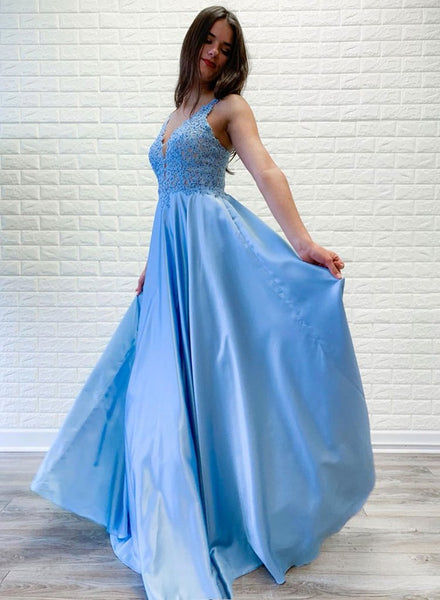 Bright Blue Lace Satin Open Back Long Halter Prom Dress, Formal Dress b328