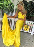 Yellow Satin Two Piece Long Train Prom Dress, Homecoming Dress B341
