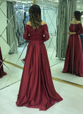 Burgundy Satin Long Sleeve Lace Evening Dress, Formal Prom Dress B342