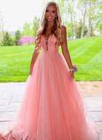 Pink Tulle Deep V-neck Long Halter Prom Dress, Formal Dress B346