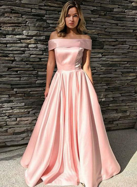 Pink Satin Off Shoulder A Line Floor Length Prom Dress, Evening Dress B347