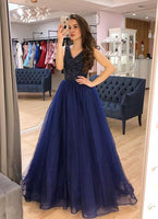Royal Blue Tulle V Neck Long A Line Beaded Prom Dress, Evening Dress B350