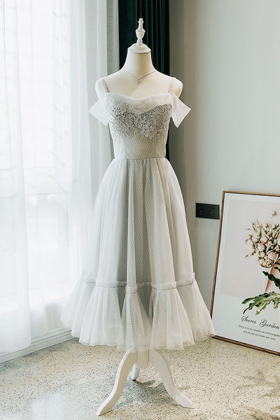 Gray Tulle Tea Length Prom Dress, Party Dress With Lace Applique B353