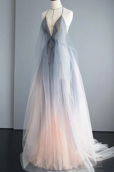 Gray Tulle Open Back Long A Line Prom Dress, Evening Dress B35
