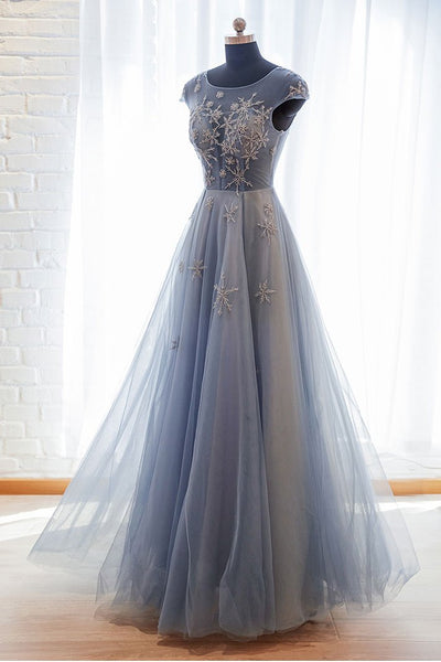 Blue tulle lace long prom dress blue tulle formal dress B366