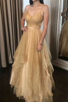 Champagne tulle long prom dress champagne tulle formal dress B372